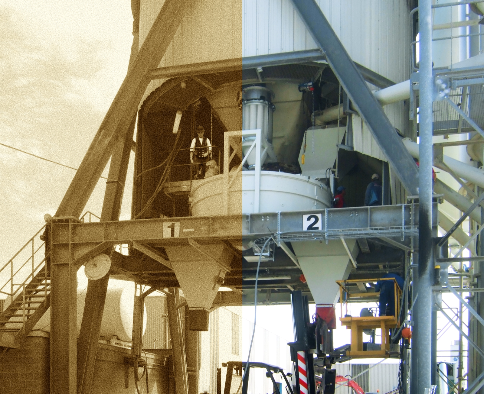 Cylindrical concrete mixer with two discharge funnels underneath on a steel frame, left side black and white and right side colored.